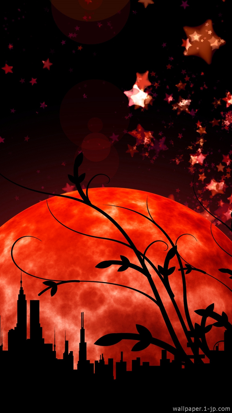赤い月と星 淡い紫陽花写真の待ち受け スマホ